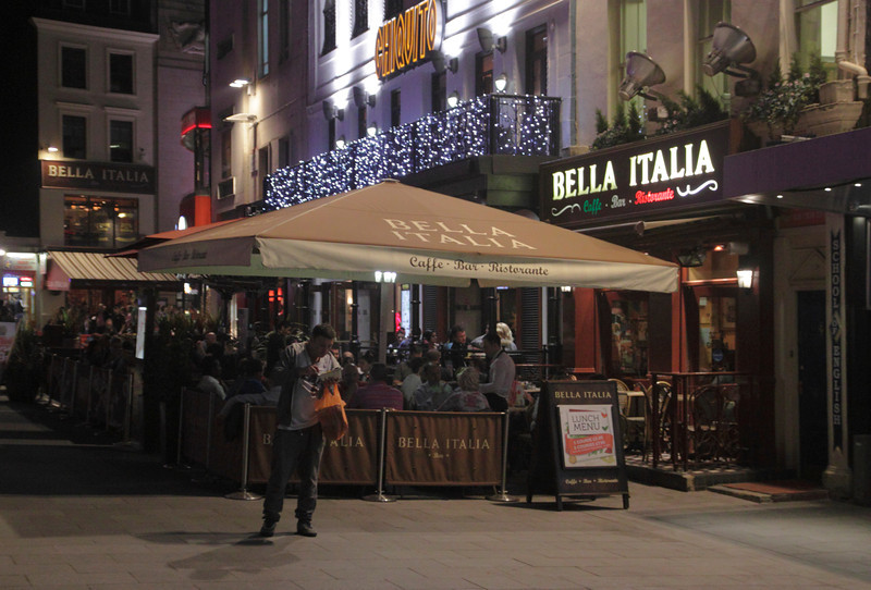 Bella Italia restaurant Leicester Square London at night May 2012