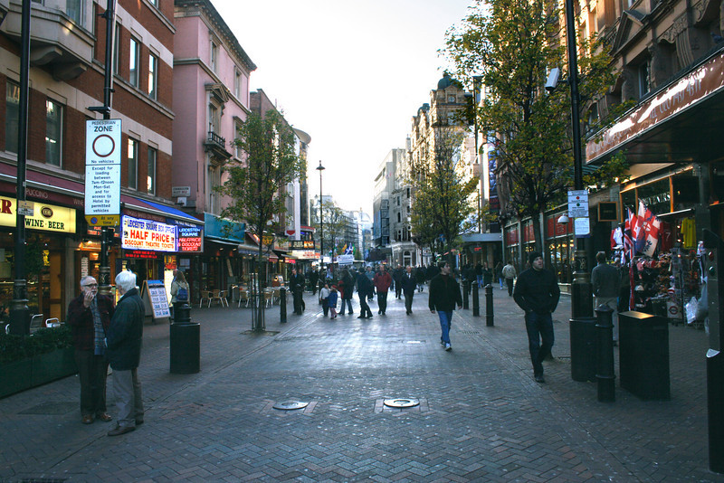Shops leading into Leicester Square London Winter 2006