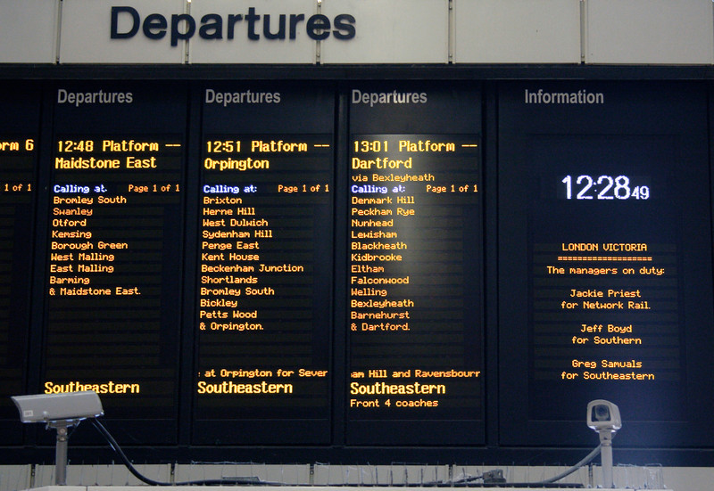 Departures timetable at Victoria Station London