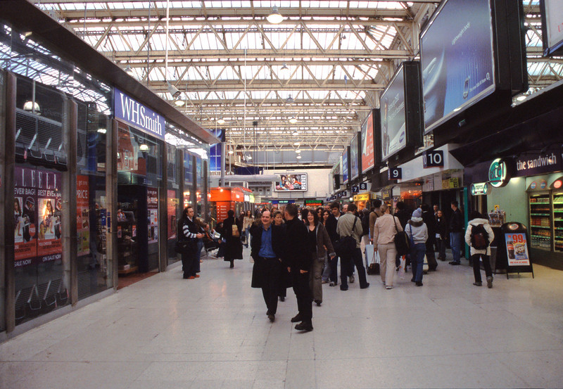 Shops at Waterloo railway station London
