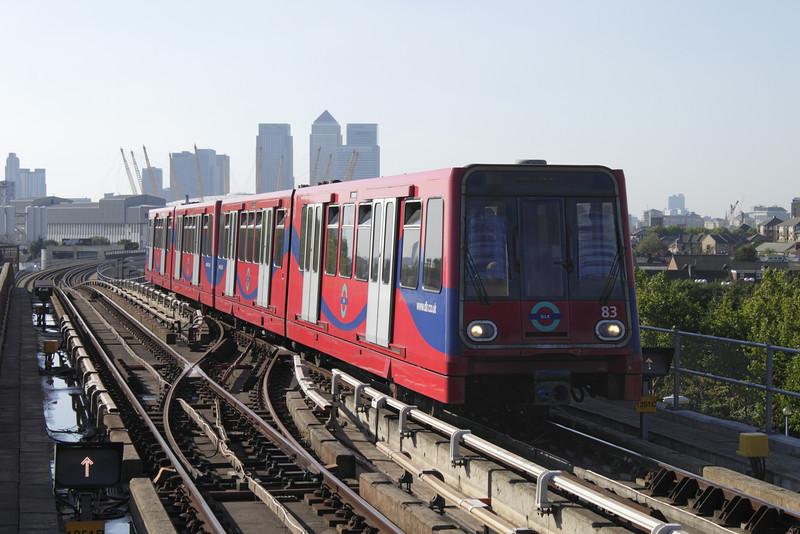 Docklands Light Railway train entering Pontoon Dock Station London