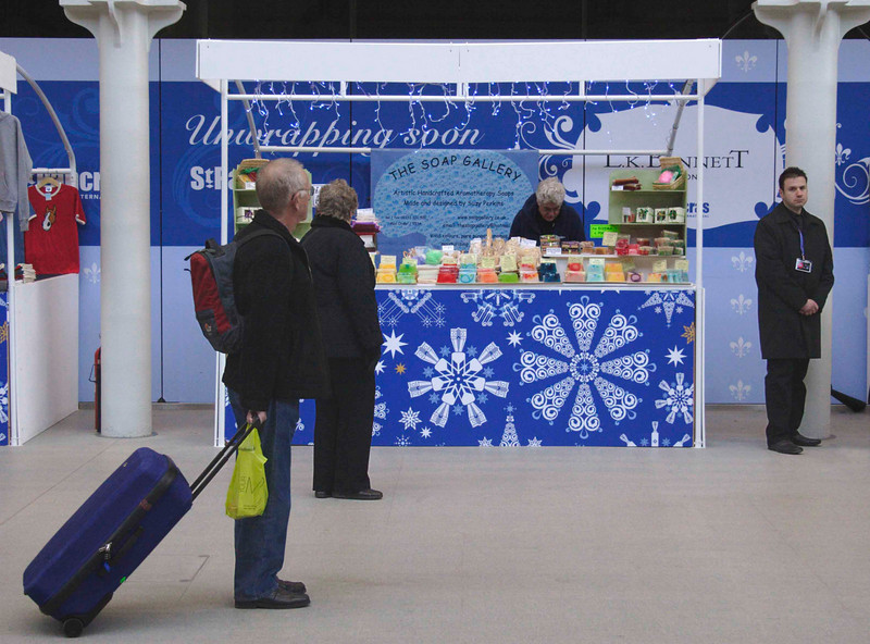 The Soap Gallery stall at St Pancras International Station London December 2007