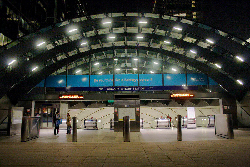 Entrance to Canary Wharf underground station London