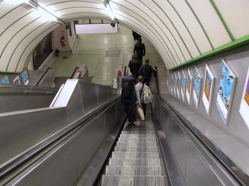 Escalator at Paddington Underground London