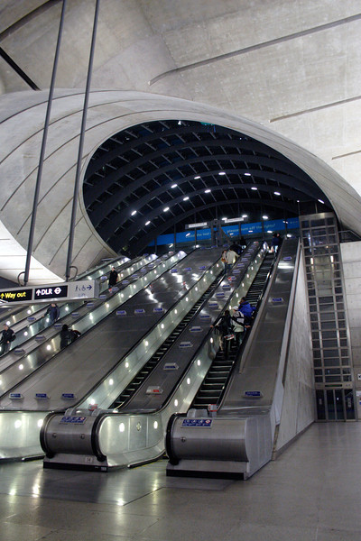 Interior of Canary Wharf Underground station London