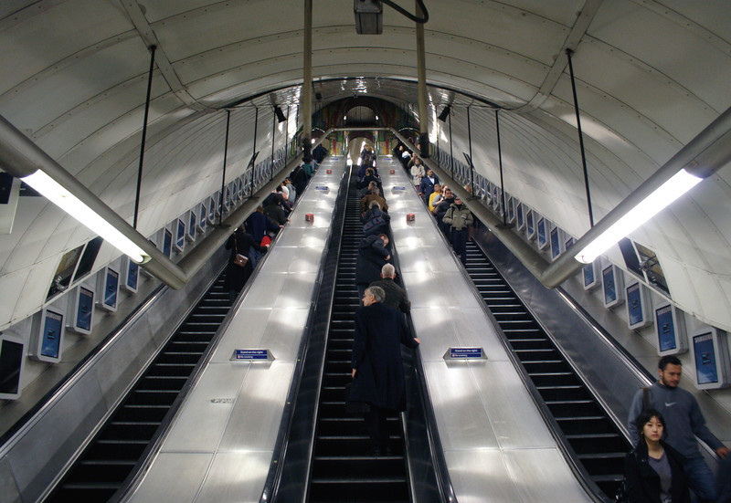 Escalator at Tottenham Court Tube Station London