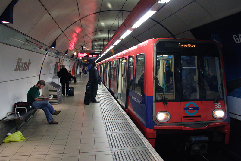 Docklands Light Railway at Bank Underground Station London
