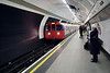 Tube arriving at Oxford Circus underground station London