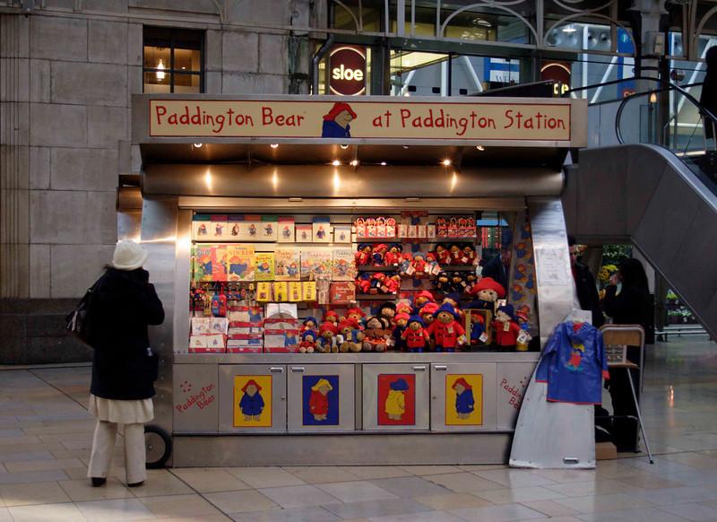 Paddington Bear stall at Paddington Station London December 2007