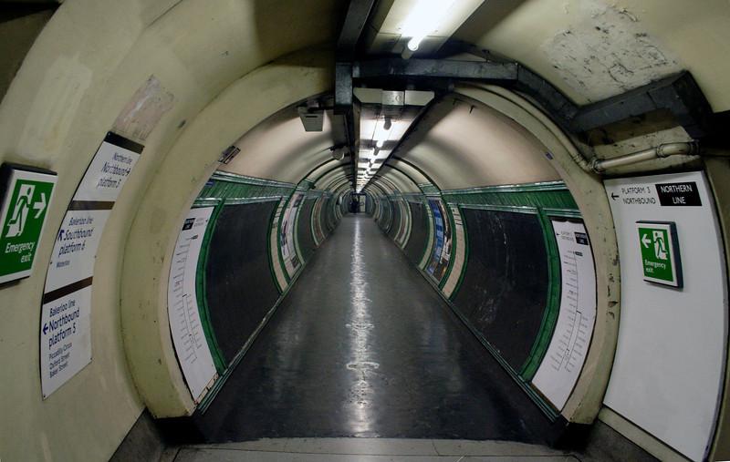 Pedestrian tunnel at Embankment Underground Station London