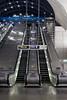 Escalator at Canary Wharf underground station London