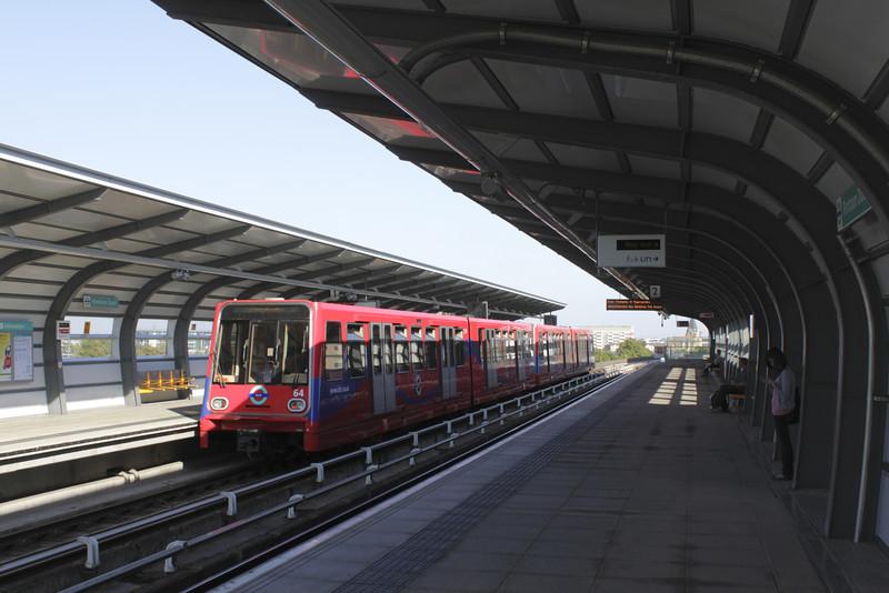Docklands Light Railway train at Pontoon Dock Station London