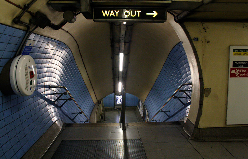 Way Out sign at Embankment Underground Station London