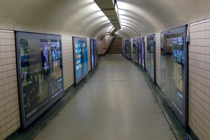 Pedestrian tunnel at Paddington Underground Station London