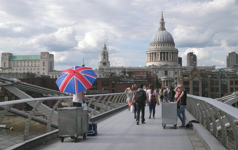 People walking on the Millennium Bridge London