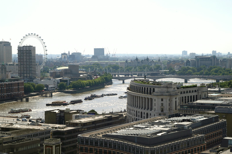 Aerial view of River Thames and South Bank London