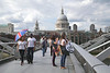 People walking on the Millennium Bridge London