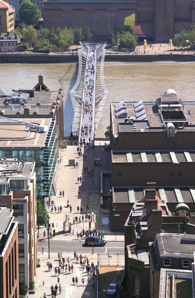 Aerial view of Millennium Bridge London