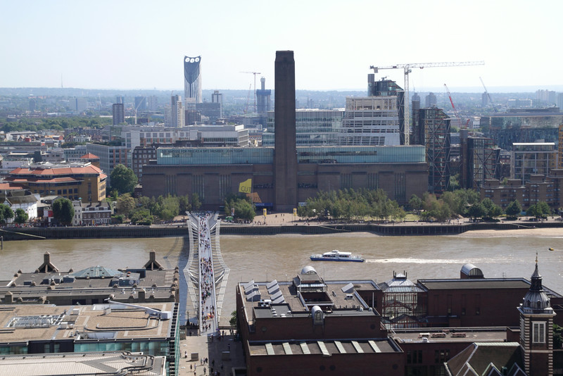 Aerial view of Millennium Bridge and Tate Modern London