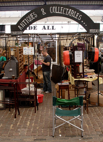 Antiques stall Greenwich Market London June 2008