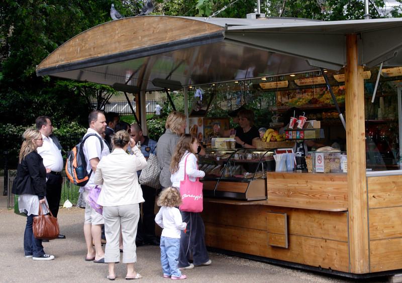 Refreshments stall at Green Park London May 2008