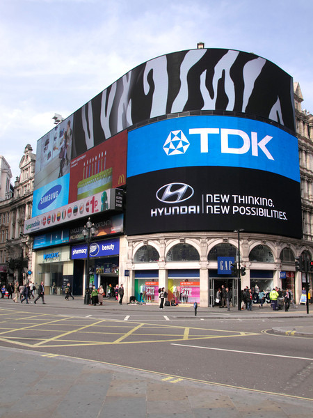 Electronic billboard at Piccadilly Circus London March 2012