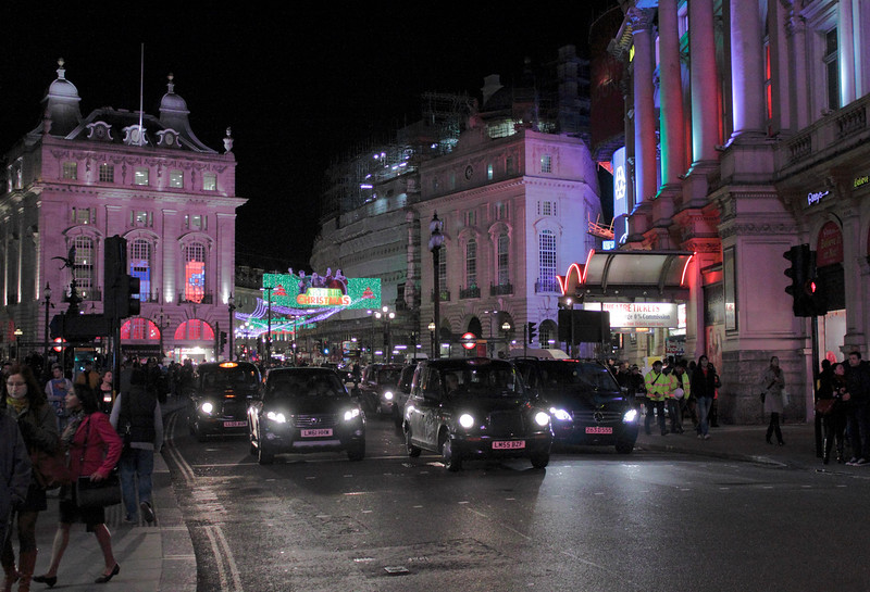 Piccadilly Circus at night London November 2011