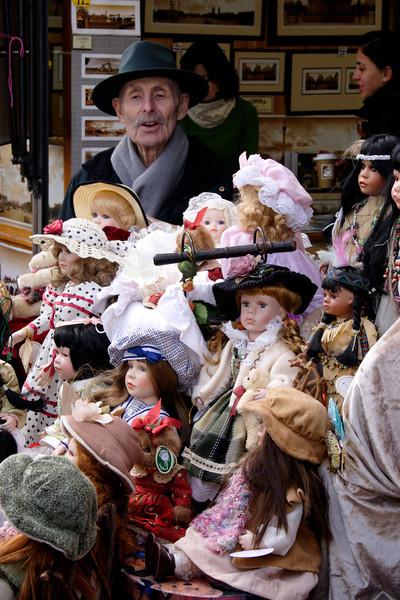 Antique dolls stall at The World Famous shop Portobello Road