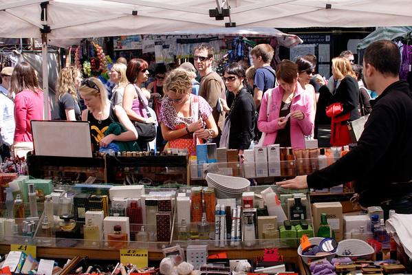 Cosmetics stall Portobello Road Market Notting Hill London