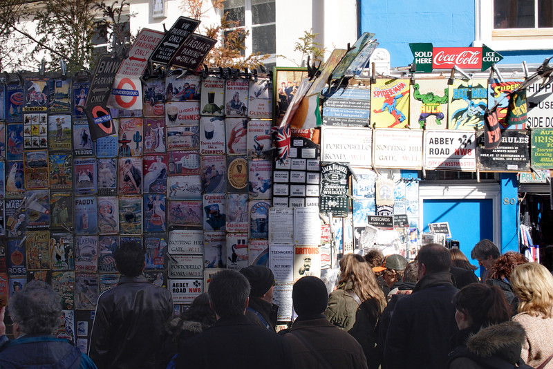 Signs and plaques for sale at Portobello Road Market London