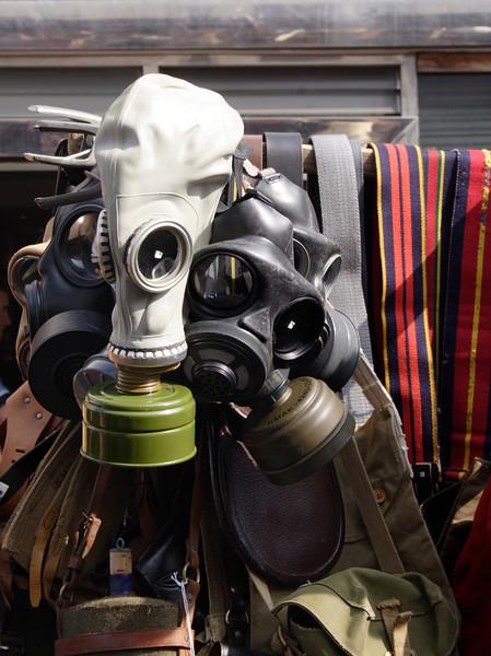 Antique gas masks for sale at Portobello Road Market London