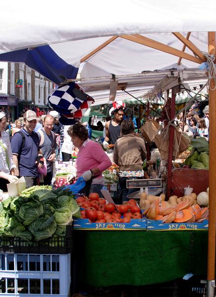 Fruit and vegetable stall Portobello Road Street Market Notting Hill July 2007