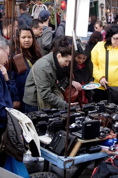 Antique camera stall at Portobello Road Market London March 2009