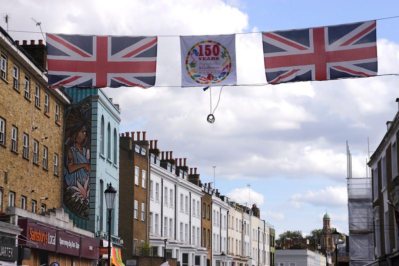 Banner celebrating 150 years Portobello Market London