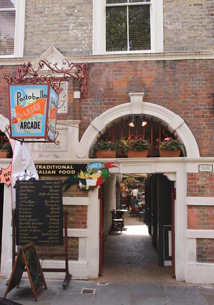 Portobello Garden Arcade Italian restaurant Notting Hill London