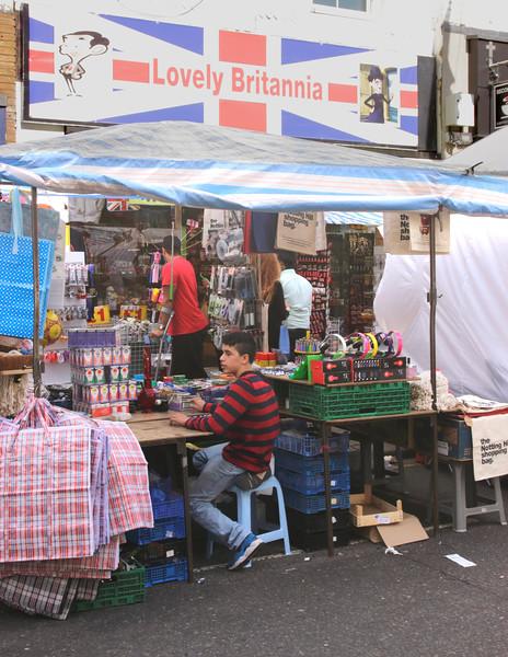 Stall at Portobello Road street Market Notting Hill London