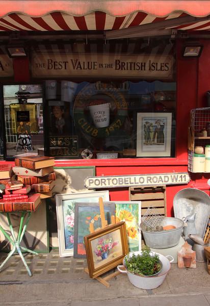 Closeup of Alices Antiques Shop Portobello Road Notting Hill London