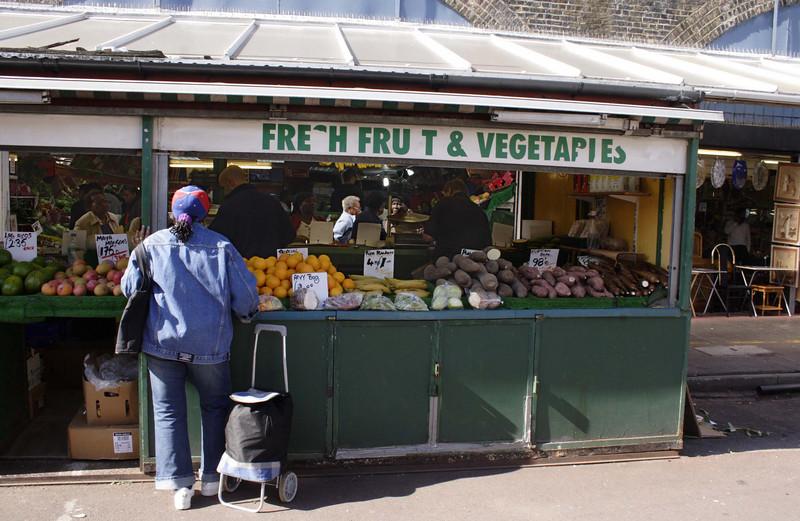 Fruit and veg stall Shepherds Bush Market London September 2009