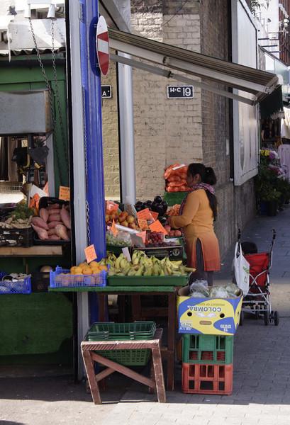 Fruit and veg stall Shepherds Bush Market London