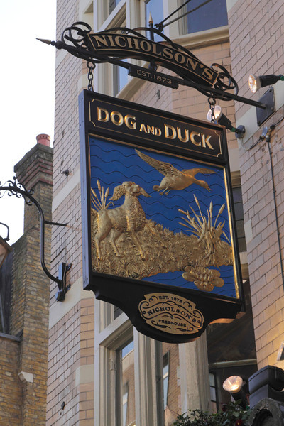 The Dog and Duck pub sign Soho London