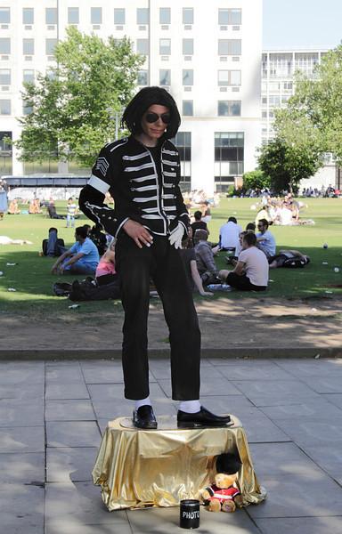 Michael Jackson human statue South Bank London July 2010