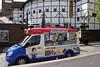 Ice Cream Van and Globe Theatre South Bank London May 2010