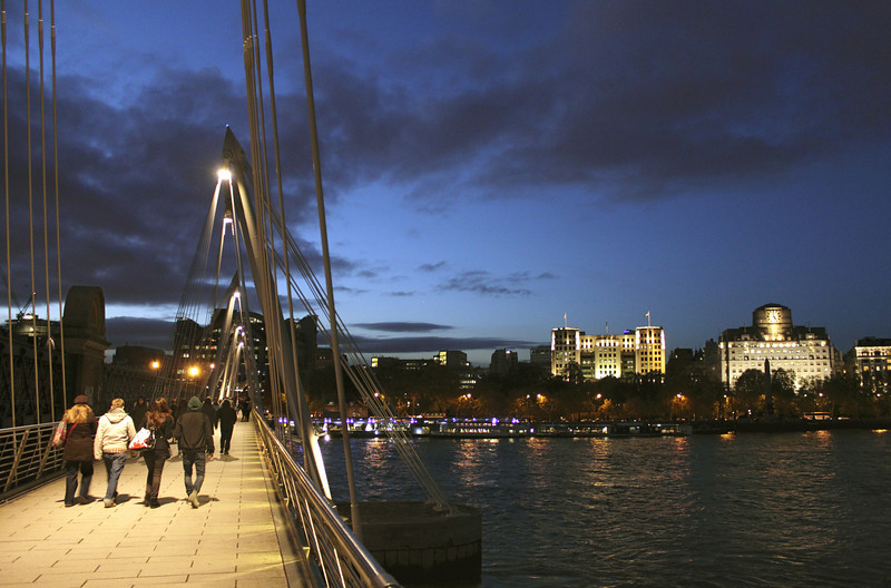 Hungerford Bridge at night London November 2010