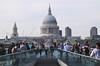 Crowd walking over Millenium Bridge London June 2012