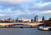 Waterloo Bridge and London skyline December 2009