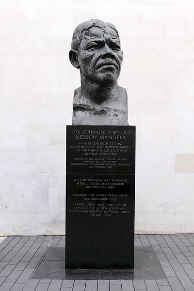 Bust of Nelson Mandela outside Royal Festival Hall London