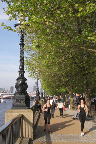 Jogging along the South Bank Promenade London