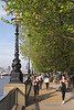 Jogging along the South Bank Promenade London
