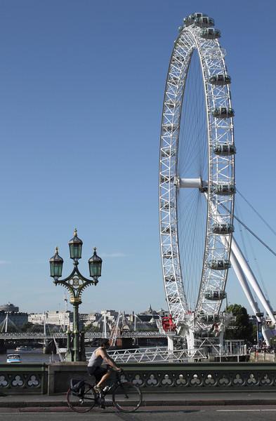 London Eye viewed from Westminster Bridge summer 2010