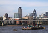 River Thames and skyline of London view from South Bank